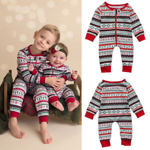 ec2ae516a Newborn Infant Baby Boy Print Romper Jumpsuit Christmas Outfits ...