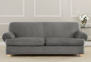 Details about Sure Fit Suede Grey Individual Cushion Sofa Slipcover 2  cushion slate t or box