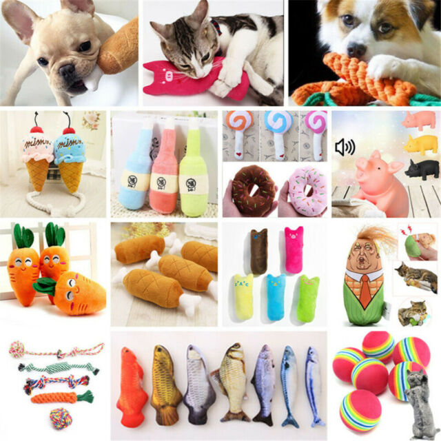 Lots Pet Puppy Funny Chew Play Squeaker Squeaky Soft Plush Sound Cat Dog Toys Q8
