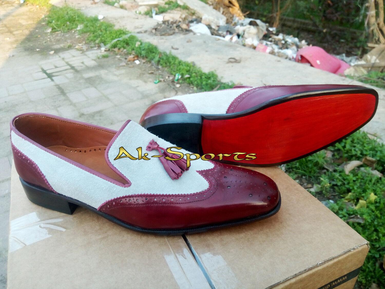 Handmade Moccasin Suede Suede Suede Pelle Dress Shoes, Uomo Formal Shoes, Uomo Two Tone Shoe c7049e