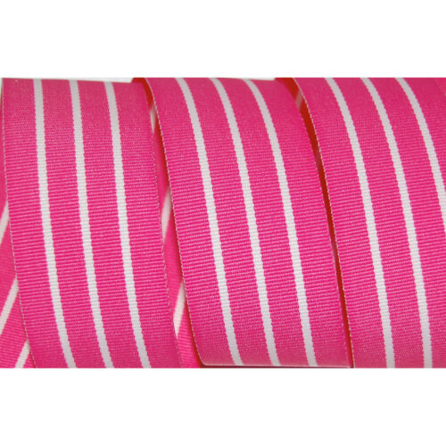 """1.5/"""" GROSGRAIN RIBBON Stripes Hot Pink /& White  1-1//2/"""" 5 YARDS Woven Bows Craft"""