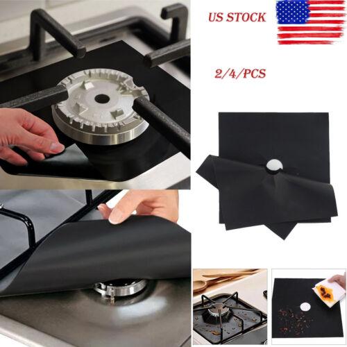 USA 2//4pcs Reusable Stove Top Gas Burner Protectors Clean Liner Cover Fiberglass