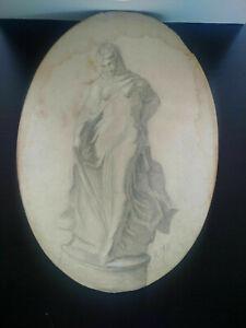 Curiosa-superbe-dessin-XIXeme-etude-femme-drappee-Tanagra-signe
