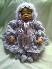 "KNITTING PATTERN BABY 0-3 MONTHS OR REBORN DOLL 19""-21"" Patt 8 Lilac"