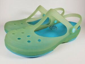 EUC-Green-Blue-Jelly-CROCS-t-strap-Carlie-Mary-Jane-Mules-Clogs-Shoes-sz-11