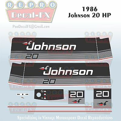 1985 Johnson 40 HP Sea-Horse Outboard Reproduction 11 Piece Marine Vinyl Decals