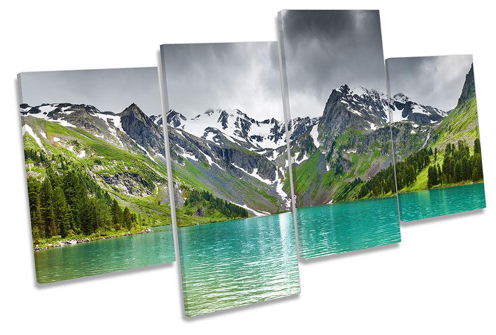Mountain Lake múltiples Paisaje Enmarcado Impresión de lona múltiples Lake Pared Arte 3b07e2