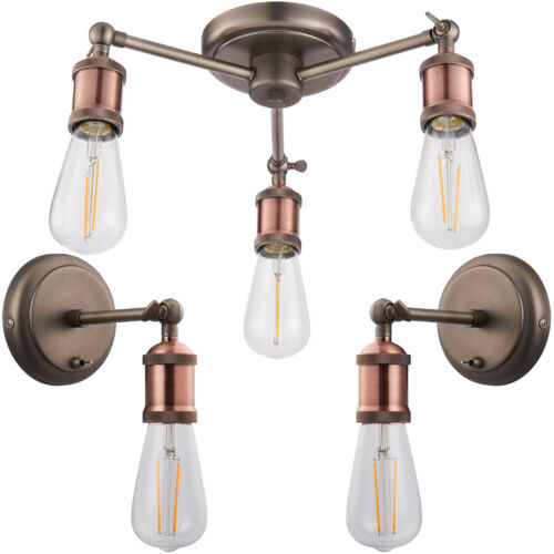 3 Lamp Ceiling Pendant /& 2x Matching Wall Light Pack Tarnished Aged Copper Kit