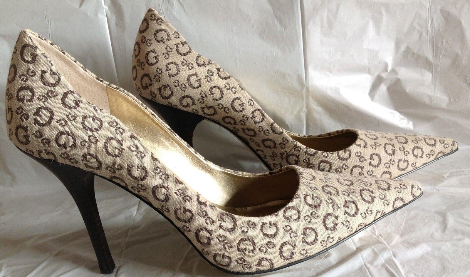 NWOB, Guess heels, Loren 2, cream canvas brown logo G G G design,sizes 6M or (2)7.5M a50c62