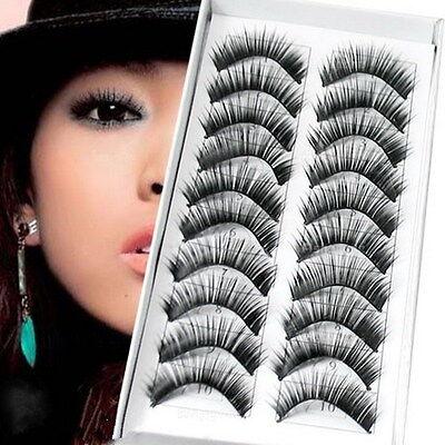 10 PAIRS BLACK False Eyelashes Natural Thick Fake Eye Lashes Human Hair Lash