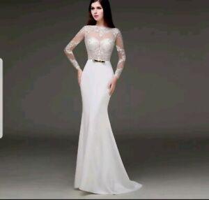 Uk New Ivory Lace Long Sleeve Lace Open Back Mermaid Wedding Dresses Size 14 Ebay