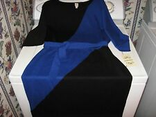 WOMENS DRESS SIZE LARGE 14-16-18 SWEATER DRESS SAPPHIRE BLUE &BLACK RT.$80.00NEW