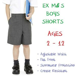 EX-M-amp-S-Boys-School-Shorts-Age-2-3-4-5-6-7-8-9-10-11-12-Grey-Black-Adjustable