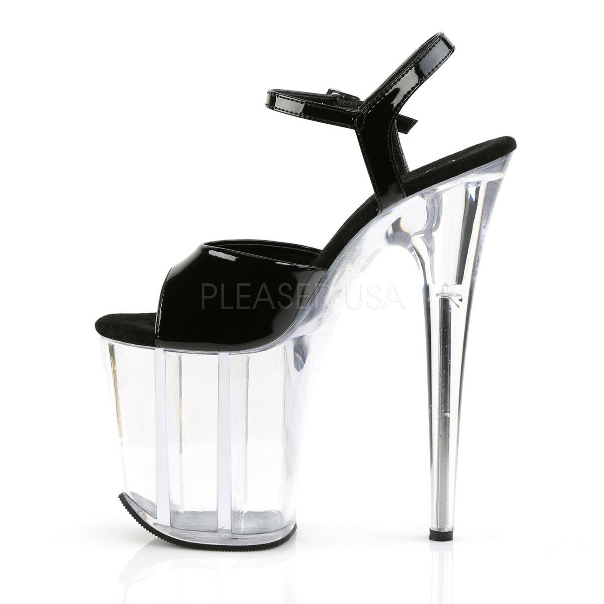 PLEASER FLAMINGO-809 BLACK PATENT     CLEAR PLATFORM POLE DANCING STILETTO SANDALS de90ea