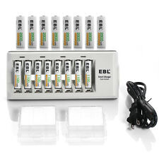 EBL 8 Slot Battery Charger + 8pcs AA and 8Pcs AAA Ni-MH Rechargeable Batteries