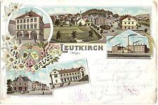 Leutkirch im Allgäu, Farb-Litho mit Bahnhof und Dampfbrauerei, 1899