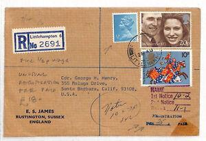 AN223 1974 GB MACHIN Littlehampton Cover USA Santa Barbara Registered ½p Usage