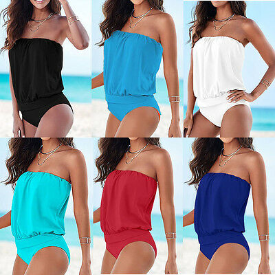 Sexy Women Summer One-piece Strapless Bandage Swimwear Swimsuit Bodysuit Bikini