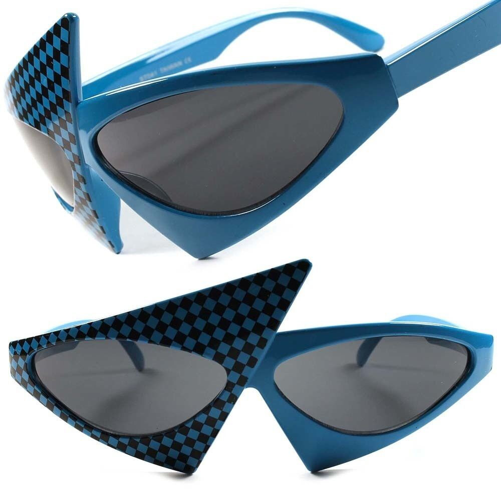 Blue Checkers Cool Unique Vintage Retro Funky Party Womens Cat Eye Sunglasses