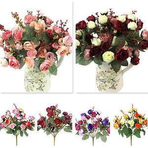 21x-Koepfe-Kunstseide-Blumenkoepfe-Bluehen-Kunstblumen-Kuenstlich-Blumen-Wohnkultur