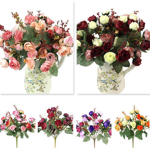 21 Heads Silk Peony Artificial Flowers Peony Wedding Bouquet Home Party Decor