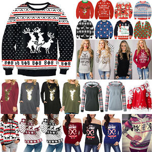 Womens-Mens-Sweater-Ugly-Christmas-Xmas-Sweatshirt-Tops-Pullover-Shirt-Blouse-AU