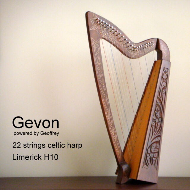 Gevon   22 Strings Rosewood Celtic Irish Harp, Carry bag & Book   Limerick H10