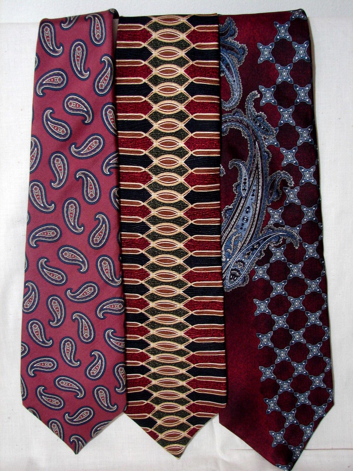 #54 Menge Von 3 Designer100 % Seide Kastanienbraun Krawatte Halston Resilio &