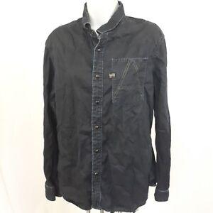 40179f0adf3 G Star Raw Denim A Crotch Dark Blue Button Sanp Denim Shirt sz L