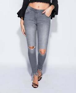 deft design best 50% off Details about Ladies Grey Ripped Jeans High Waisted Skinny Distressed Hem  Frayed UK 8 10 12 14