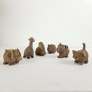 Vintage-Animals-Japan-Figurines-Farm-Zoo-Mid-Century-Ceramic-Pottery-Set-6-Mini