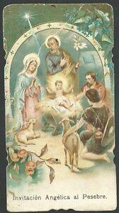 cf667b9fd8c La imagen se está cargando Estampa-antigua-del-Pesebre -andachtsbild-santino-holy-card-