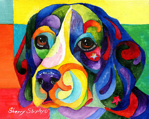 BEAGLE-8X10-Colorful-DOG-Print-from-Artist-Sherry-Shipley