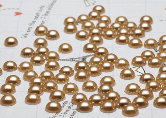 100PCS/500PCS/1000PCS Half Pearl Beads Flat Back for Craft FlatBack Gold 8MM