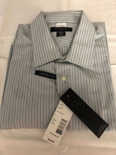 Teal Stripe  Retail $40 NEW Structure Men/'s Wrinkle Free Fitted Dress Shirt L