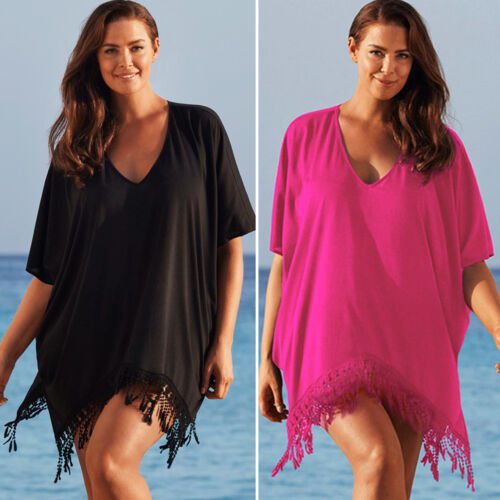 Plus Size Women/'s Bikini Cover Up Beachwear Tassel Kaftan Bathing Dress Summer
