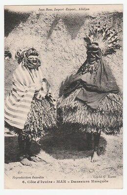 Angemessen Frühe Postkarte, Elfenbeinküste, Maskentänzer Im Kostüm, Wobe, Ivory Coast, 1920