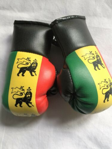 Hang in your Car RED GOLD GREEN LION OF JUDAH  MINI BOXING GLOVES ROOTS