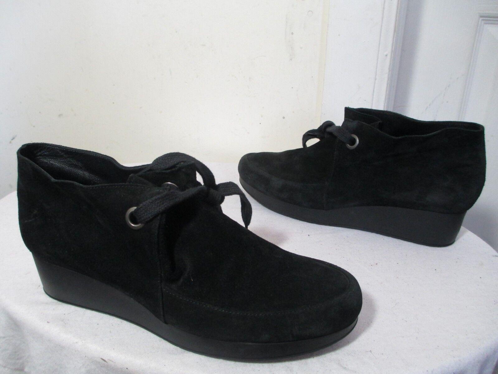 ROBERT CLERGERIE NANCYJ WOMEN'S BLK SUEDE WEDGE PLATFORM CHUKKA BOOTS 39½ B US 9