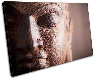 Budda Peace Brown Cream Religion SINGLE CANVAS WALL ART Picture Print VA