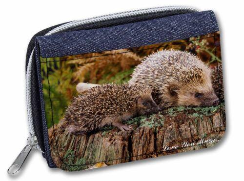 AHE-5lymJW Two Hedgehogs /'Love You Mum/' Girls//Ladies Denim Purse Wallet Christm