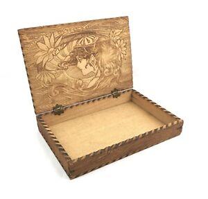 Antique-1920s-Pyrography-Wood-Dresser-Box-Portrait-Woman-Art-Nouveau