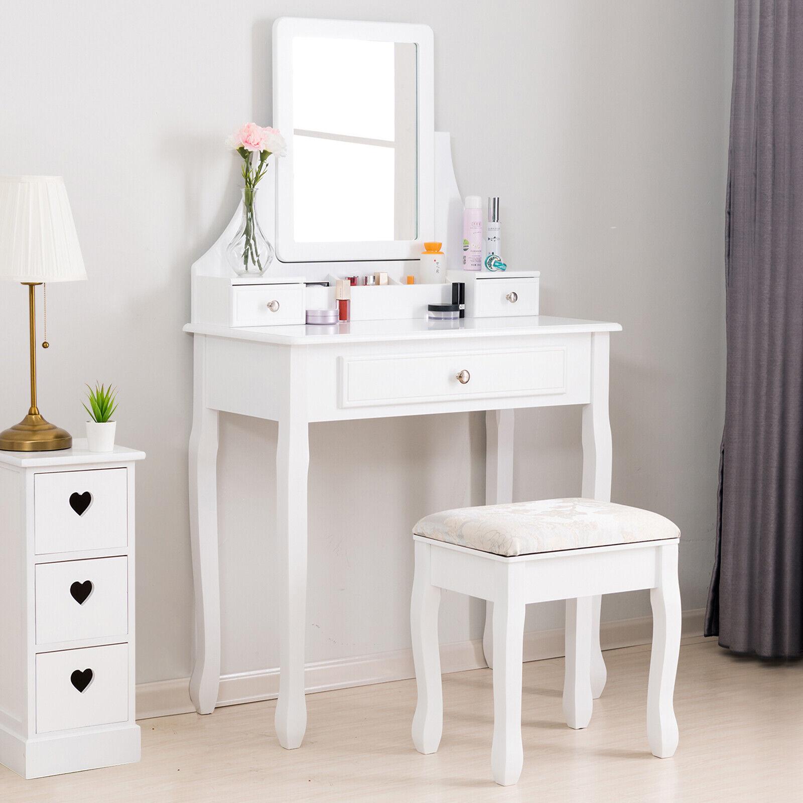 Elegant Wood Dressing Table Set Vanity Desk W 3 Drawers Stool