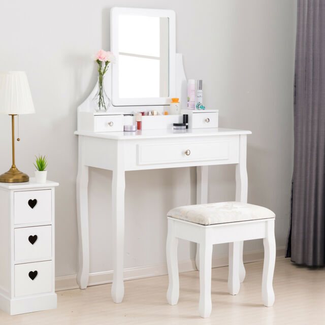Pleasing Elegant Wood Dressing Table Set Vanity Desk W 3 Drawers Stool Mirror White Gmtry Best Dining Table And Chair Ideas Images Gmtryco
