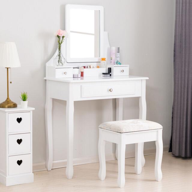 White Vanity Desk With Mirror.Elegant Wood Dressing Table Set Vanity Desk W 3 Drawers Stool Mirror White
