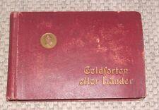 Album Geldsorten aller Länder m. 45 Postkarten geprägt Sammlung um 1910 komplett
