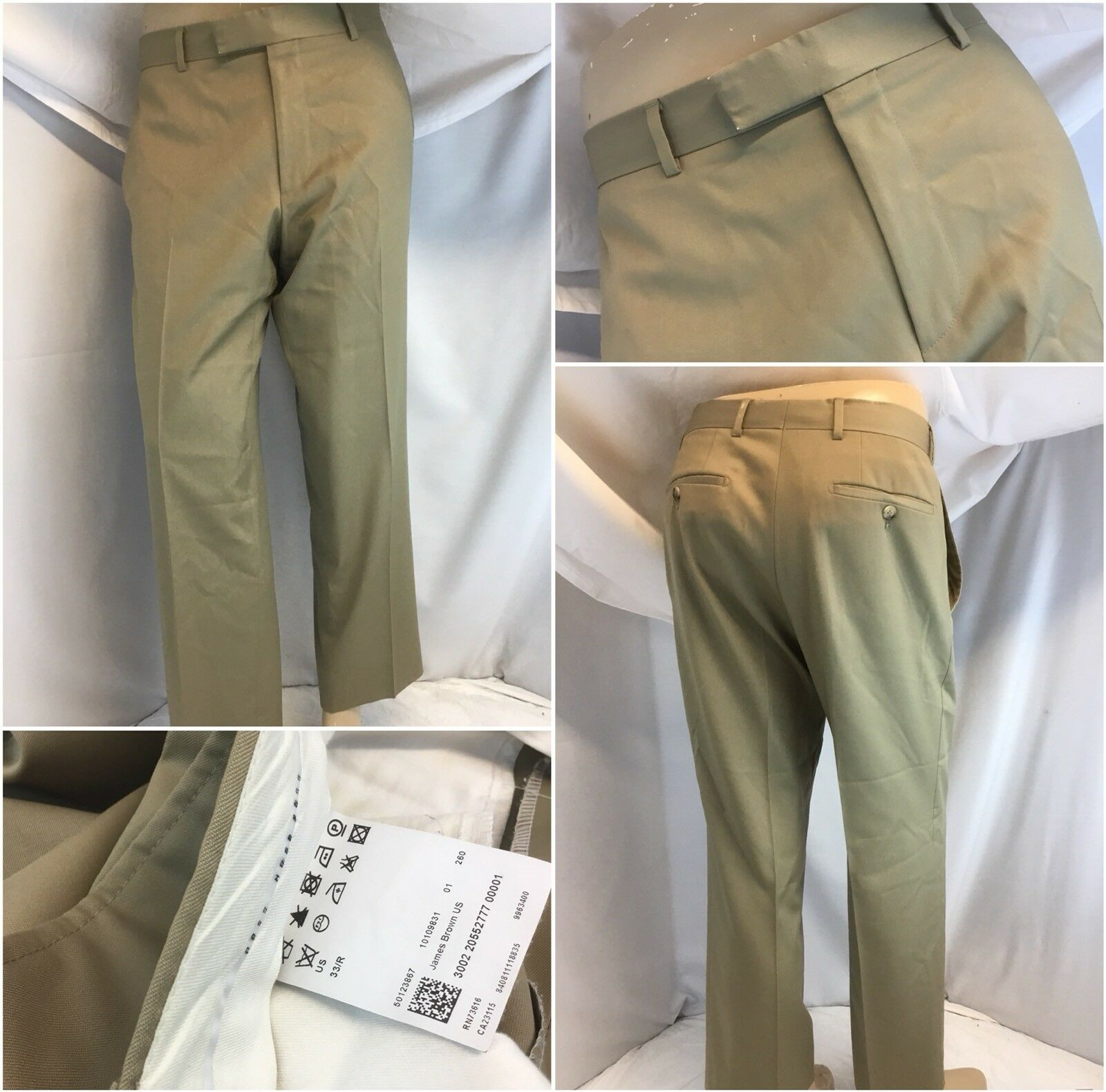 Hugo Boss Pants 33x28 Tan 100% Wool Super 100s Flat Front USA EUC YGI G8-612