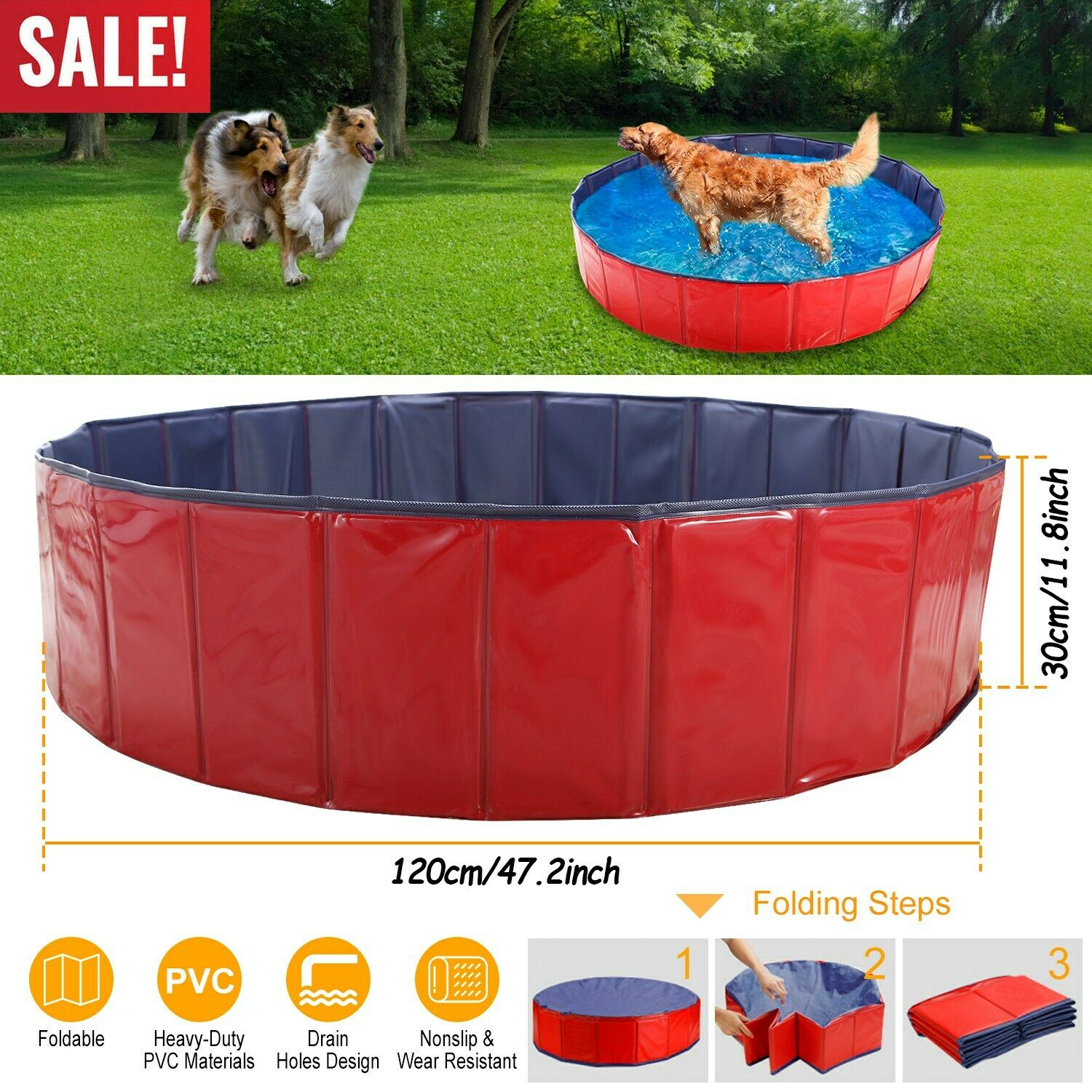 Bingpet Large Dog Swimming Pool Pet Bathtub Collapsible Puppy Bath Tub L Blue For Sale Online Ebay
