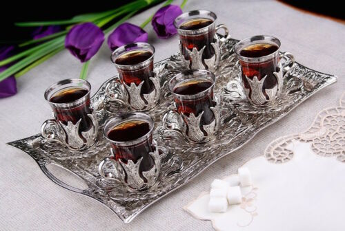 25 Pcs Turkish Tea Glasses Set with Holder Handle Saucers Spoons /& Tray
