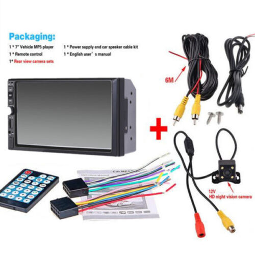 """7/"""" Touch Screen FM Bluetooth Radio Audio Stereo Car Player/&HD Camera 12VUseful"""